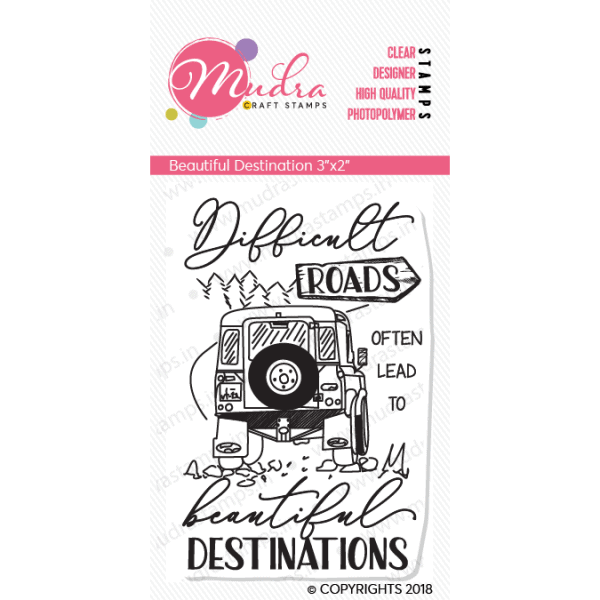 beautiful destination design photopolymer stamp for crafts, arts and DIY by Mudra