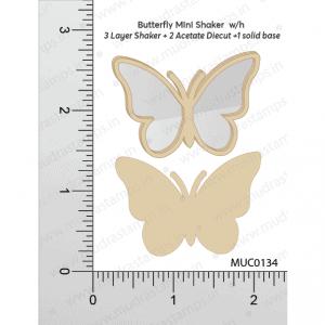 Chipzeb - Buttyerfly Mini Shaker W/oh - designer chipboard laser cut embellishment by Mudra