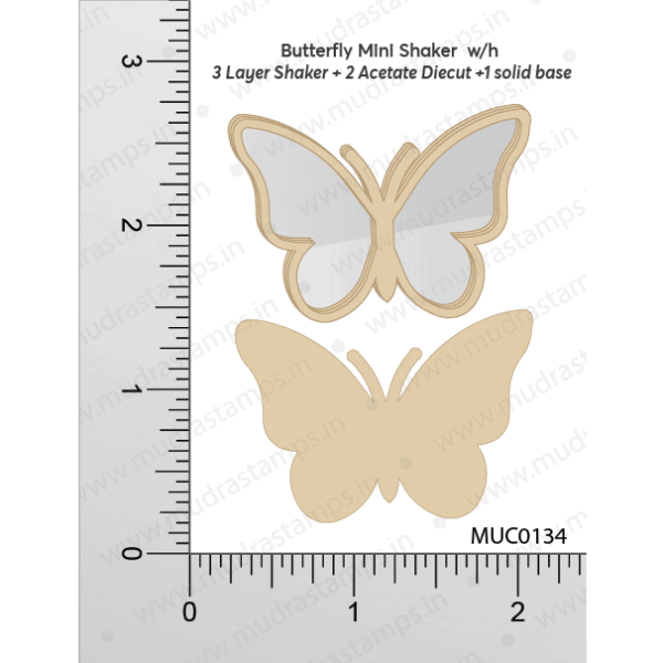 Chipzeb - Buttyerfly Mini Shaker W/oh - designer chipboard laser cut embellishment by Mudra