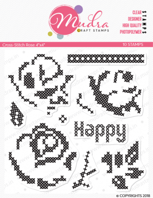 cross stich rose design photopolymer stamp for crafts, arts and DIY by Mudra