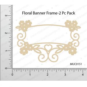 Chipzeb - Floral Banner Frame - designer chipboard laser cut embellishment by Mudra
