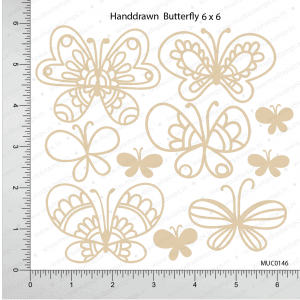 Chipzeb - Hand Drawn Butterfly - designer chipboard laser cut embellishment by Mudra