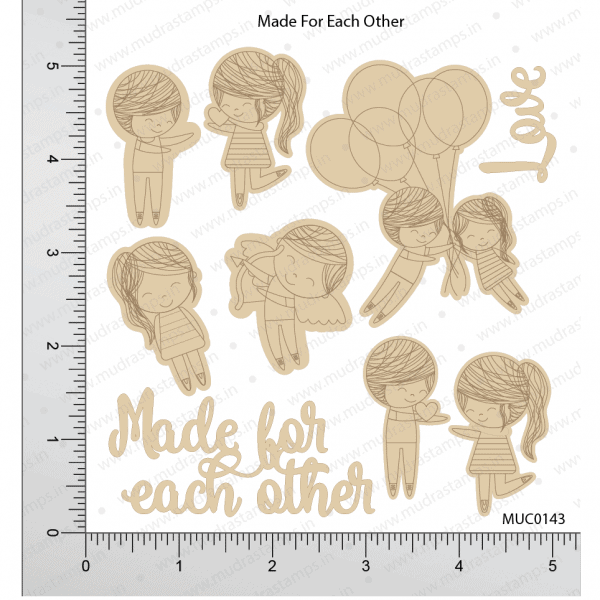 Chipzeb - Made For Eachother Marking - designer chipboard laser cut embellishment by Mudra