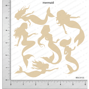 Chipzeb - Mermaid - designer chipboard laser cut embellishment by Mudra