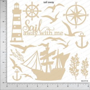 Chipzeb - Sail Away - designer chipboard laser cut embellishment by Mudra