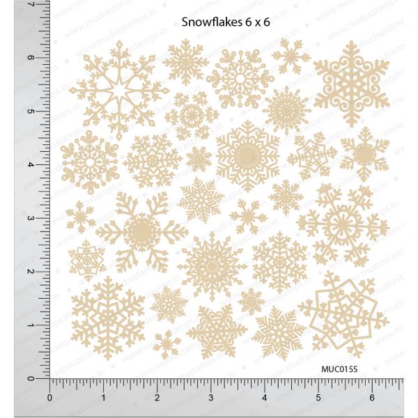 Chipzeb - Snowflakes - designer chipboard laser cut embellishment by Mudra