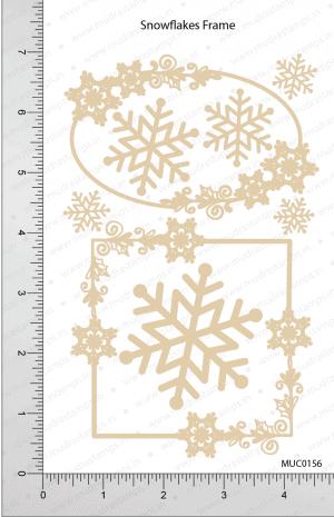 Chipzeb - Snowflakes Frame - designer chipboard laser cut embellishment by Mudra