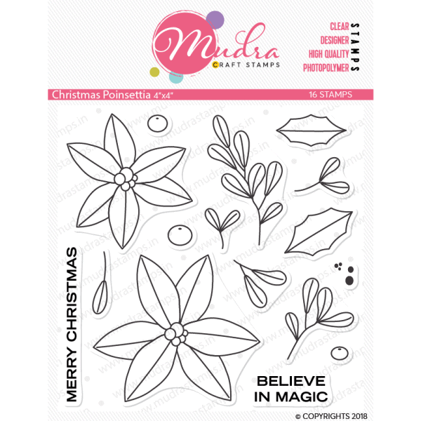 christmas poinsettia design photopolymer stamp for crafts, arts and DIY by Mudra