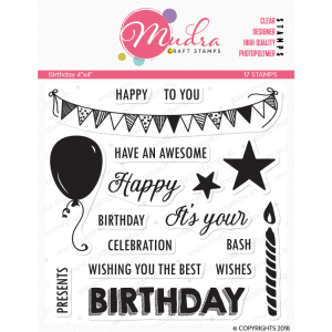 birthday design photopolymer stamp for crafts, arts and DIY by Mudra