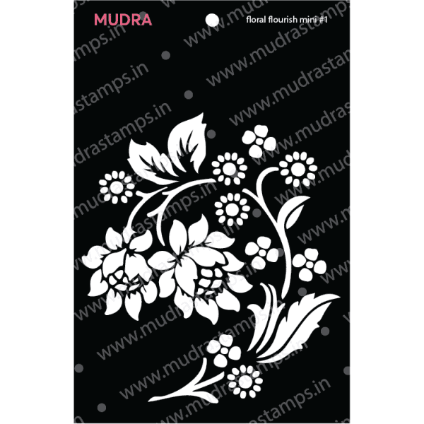 Craft Stencils - Floral Flourish Mini #1 3x4 - Mudra