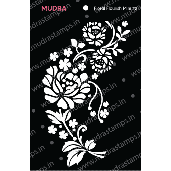 Craft Stencils - Floral Flourish Mini #2 3x4 - Mudra