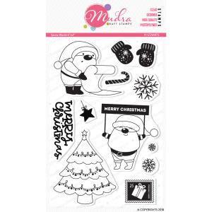 santa world design photopolymer stamp for crafts, arts and DIY by Mudra
