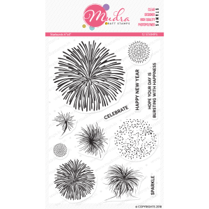 starbursts design photopolymer stamp for crafts, arts and DIY by Mudra