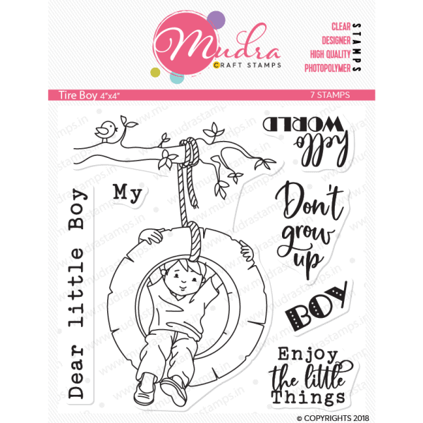 tire boy design photopolymer stamp for crafts, arts and DIY by Mudra