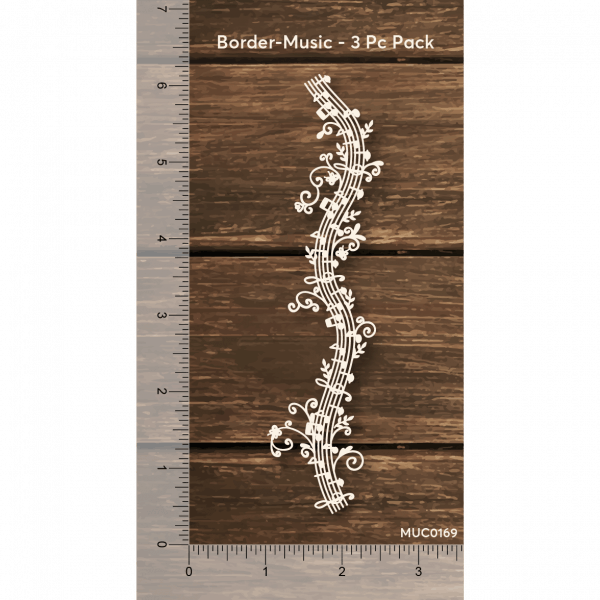 Chipzeb - Border Music - designer chipboard laser cut embellishment by Mudra