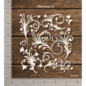 Chipzeb - Flourishes #1 - designer chipboard laser cut embellishment by Mudra