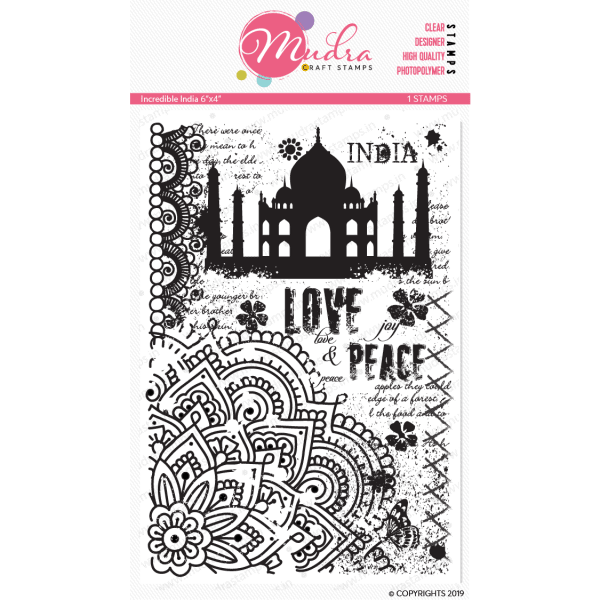 incredible india design photopolymer stamp for crafts, arts and DIY by Mudra