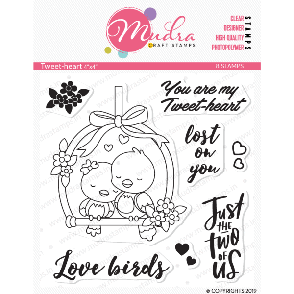 tweet heart design photopolymer stamp for crafts, arts and DIY by Mudra