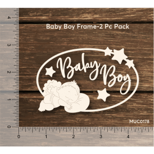 Chipzeb - Baby Boy Frame - designer chipboard laser cut embellishment by Mudra