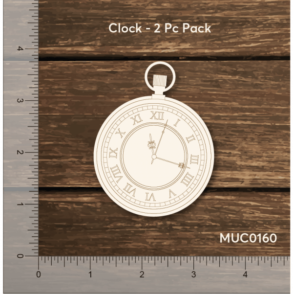Chipzeb - Clock - designer chipboard laser cut embellishment by Mudra