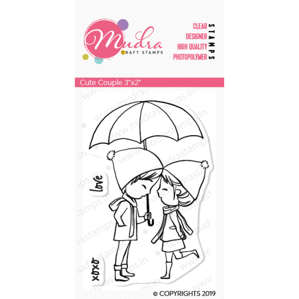 cute couple design photopolymer stamp for crafts, arts and DIY by Mudra