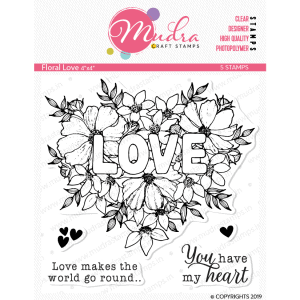 floral love design photopolymer stamp for crafts, arts and DIY by Mudra
