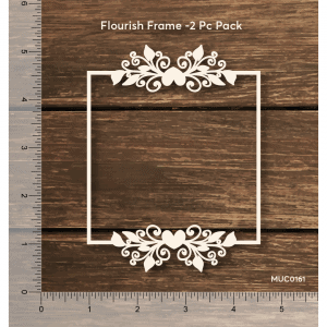 Chipzeb - Flourish Frame - designer chipboard laser cut embellishment by Mudra