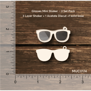 Chipzeb - Glasses Mini Shaker - designer chipboard laser cut embellishment by Mudra