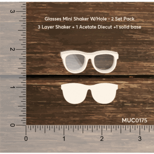Chipzeb - Glasses Mini Shaker W/Hole - designer chipboard laser cut embellishment by Mudra