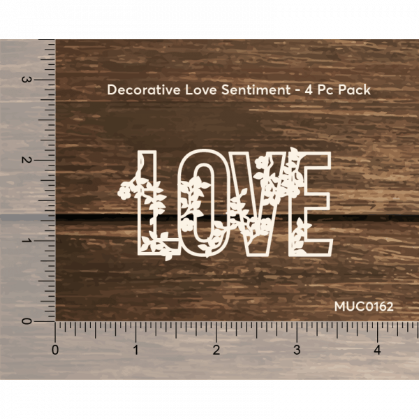 Chipzeb - Love Sentiment - designer chipboard laser cut embellishment by Mudra