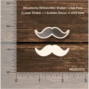 Chipzeb - Moustache Mini Shaker W/hole - designer chipboard laser cut embellishment by Mudra