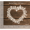 Chipzeb -Musical Heart - designer chipboard laser cut embellishment by Mudra