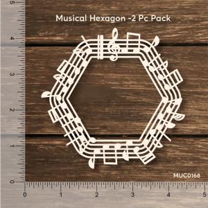 Chipzeb - Musical Hexagon - designer chipboard laser cut embellishment by Mudra
