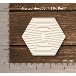 Chipzeb - Nested Hexagon - designer chipboard laser cut embellishment by Mudra