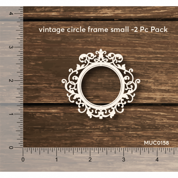 Chipzeb - Vintage Circle Frame Small - designer chipboard laser cut embellishment by Mudra