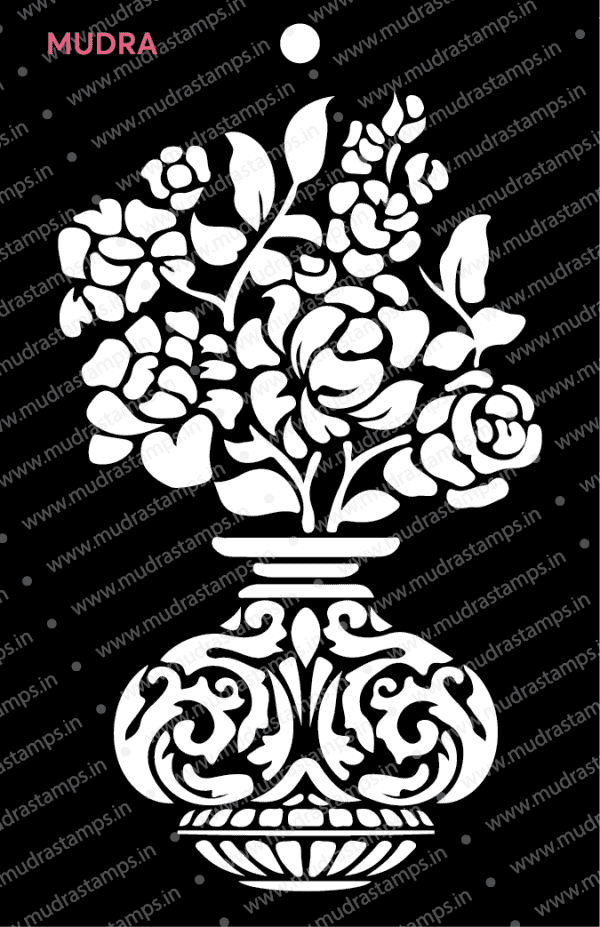 Craft Stencils - Decorative Flower Pot 6x4 - Mudra