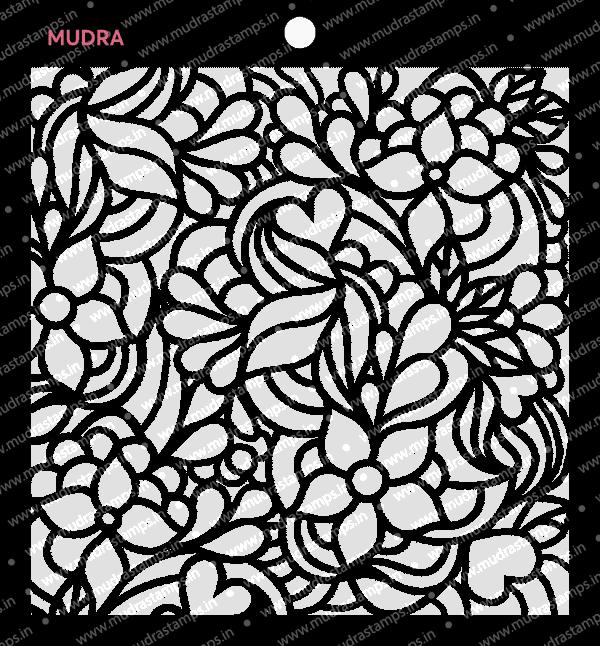 Craft Stencils - Floral Doodle 6x6 - Mudra