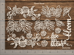 Chipzeb - Floral Spray - designer chipboard laser cut embellishment by Mudra