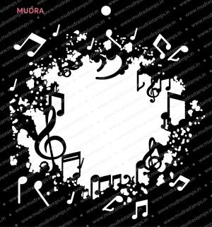 Craft Stencils - Grunge Music Frame 6x6 - Mudra