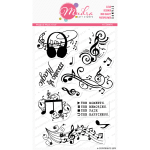 magical music design photopolymer stamp for crafts, arts and DIY by Mudra