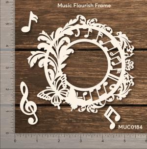 Chipzeb - Music Flourish Frame - designer chipboard laser cut embellishment by Mudra