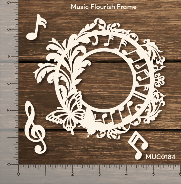 Chipzeb - Music Flourish Frame - designer chipboard laser cut embellishment by Mudra
