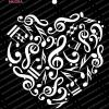 Craft Stencils - Music Heart 6x6 - Mudra