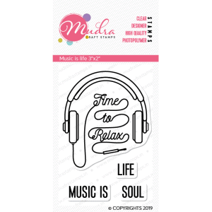 music is life design photopolymer stamp for crafts, arts and DIY by Mudra
