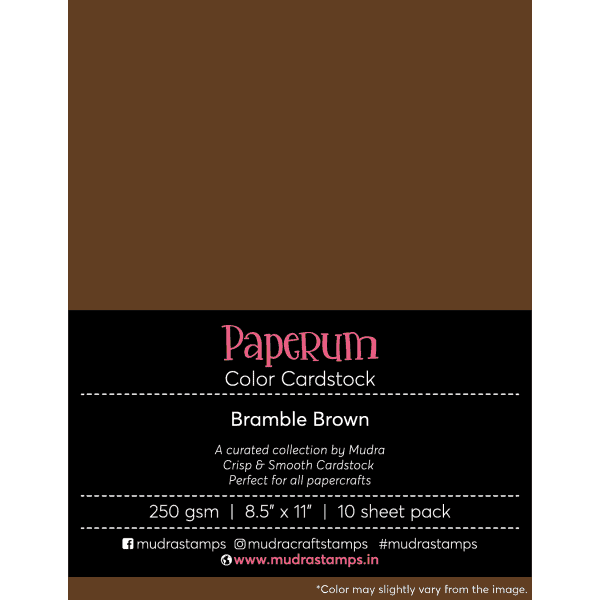 Bramble Brown Color Cardstock Paper board 250gsm 8.5x11 - Mudra Paperum