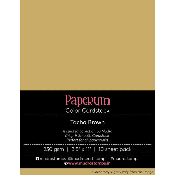 Tacha Brown Color Cardstock Paper board 250gsm 8.5x11 - Mudra Paperum