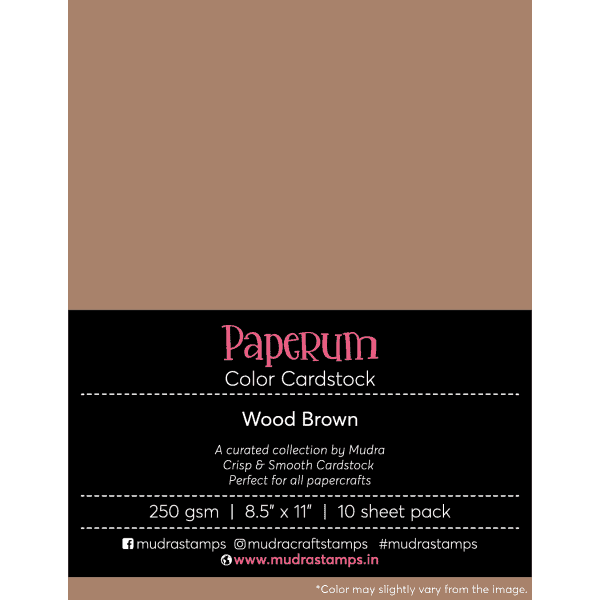 wood brown Color Cardstock Paper board 250gsm 8.5x11 - Mudra Paperum