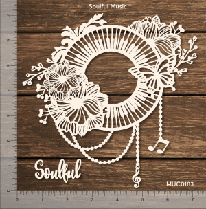 Chipzeb - Soulful Music - designer chipboard laser cut embellishment by Mudra
