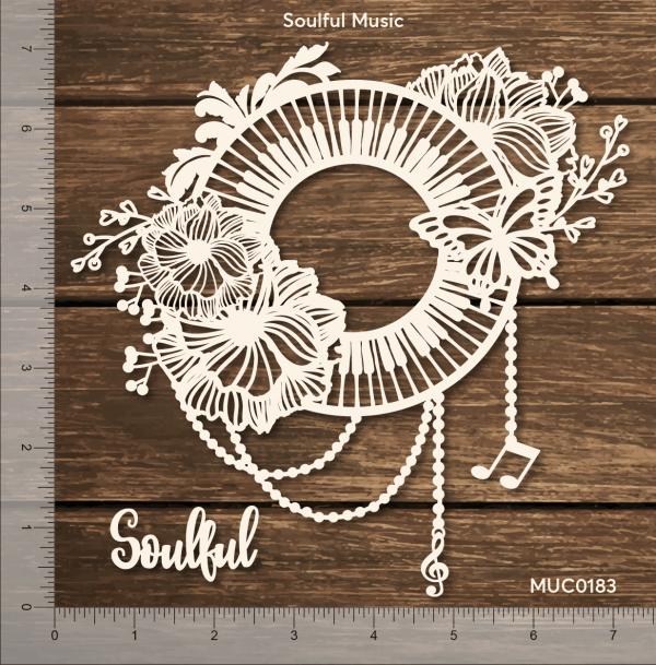 Chipzeb - Soulful Music - designer chipboard laser cut embellishment by Mudra
