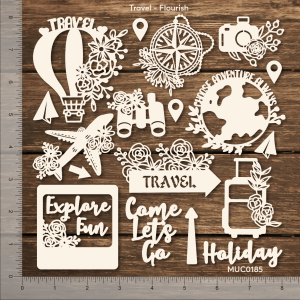 Chipzeb - Travel Flourish - designer chipboard laser cut embellishment by Mudra